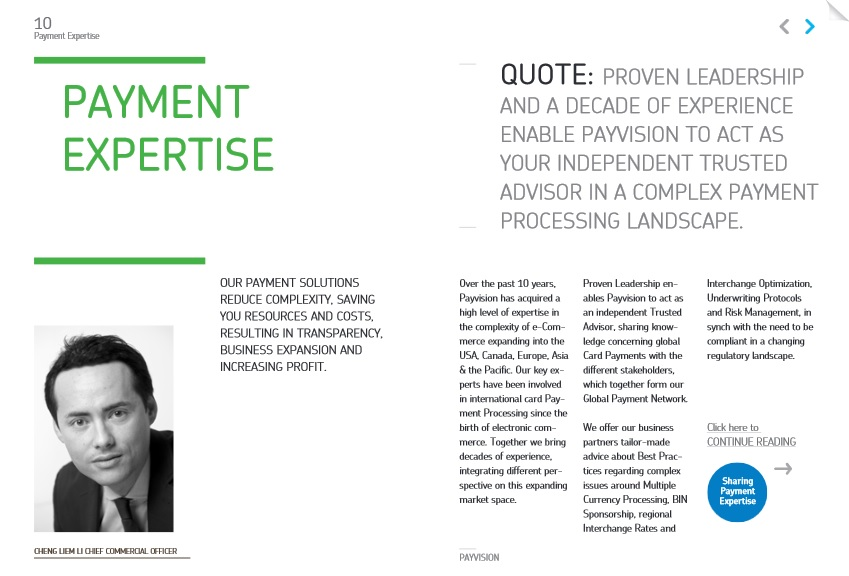 Corporate Brochure Content for Global Payments Acquirer Payvision