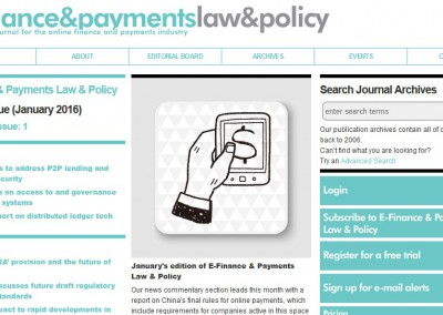 Artikel in E-Finance & Payments Law & Policy