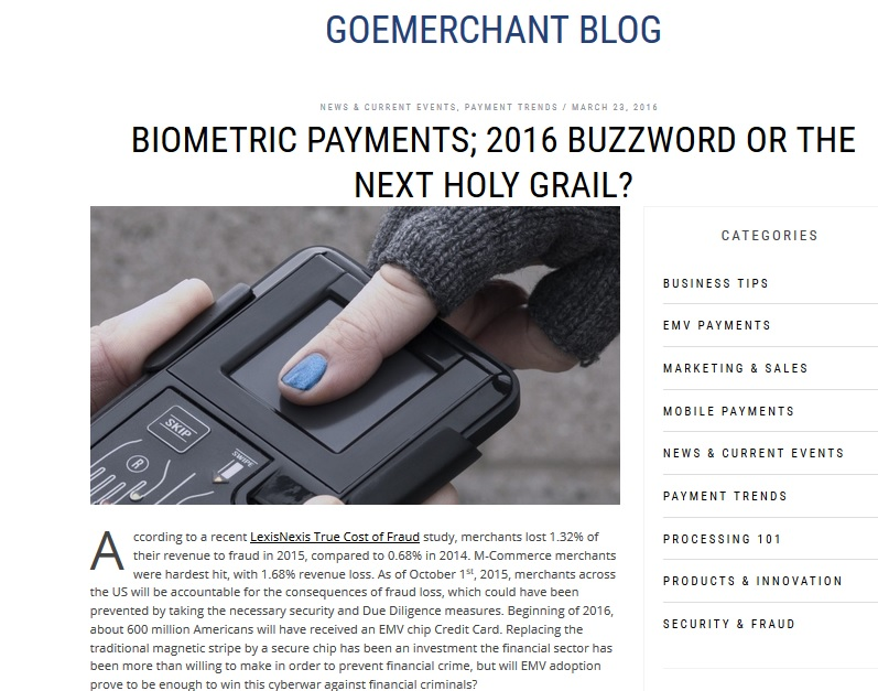 Blog about Biometrics and CNP Payments