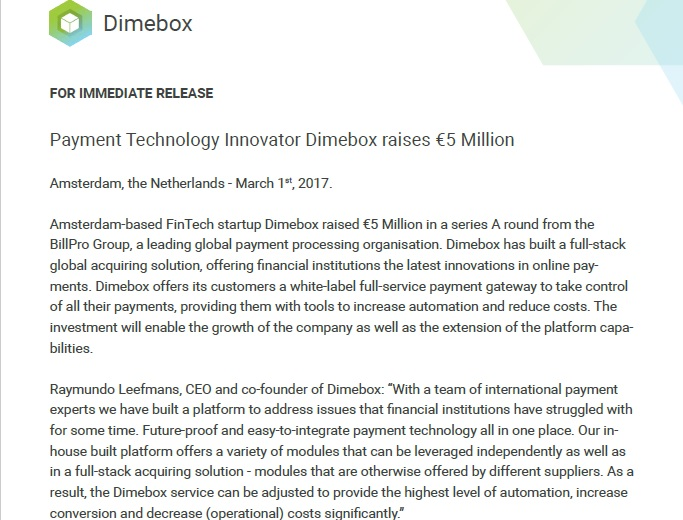 Dimebox Billpro Press Release