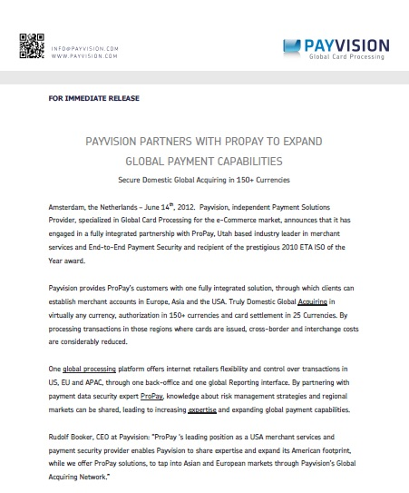 Example Press Release