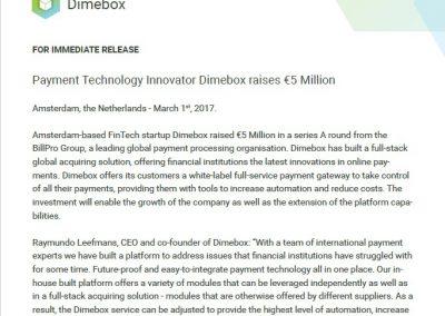 Dimebox Billpro Press Release